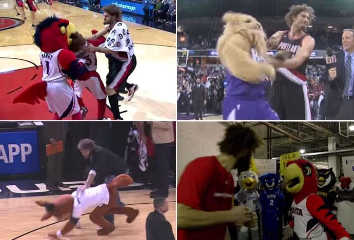 Montagem Robin Lopez x mascotes da NBA (Foto: Globoesporte.com)