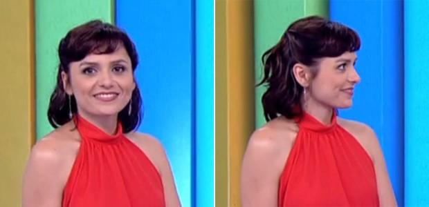 Mesmo com o corte curto, Iozzi mostra que é possível fazer o tradicional penteado princesa, em que se prende as laterais dos cabelos são presas atrás da cabeça (Foto: Vídeo Show / TV Globo)