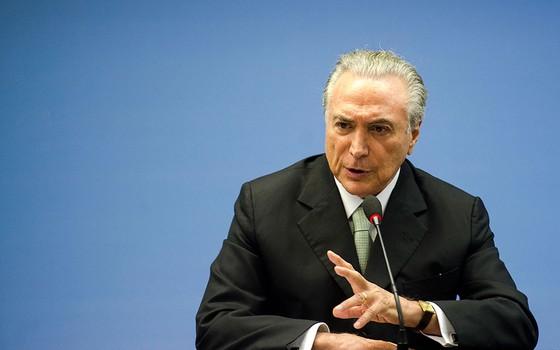 Michel Temer, vice-presidente da República, durante coletiva de imprensa em fevereiro de 2016 (Foto: Marcelo Camargo / Agência Brasil)