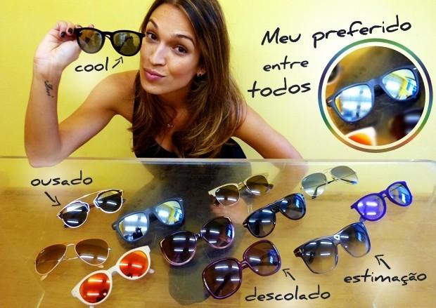 Talitha Morete mostra sua coleção de óculos (Foto: Mais Você / TV Globo)
