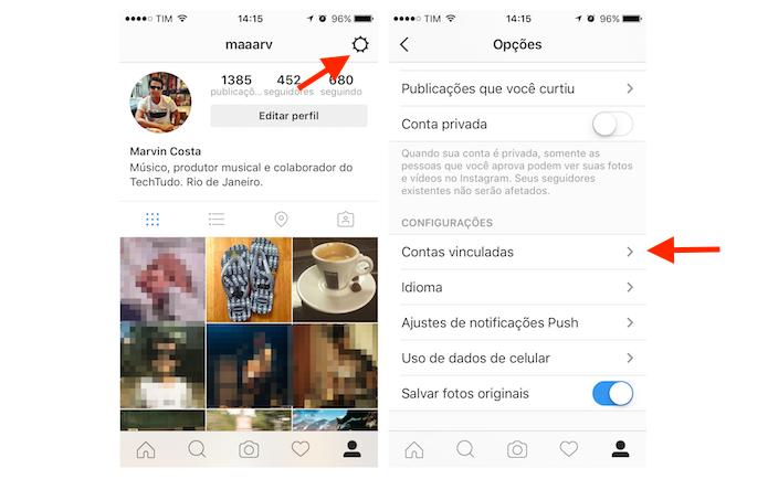 Acessando as configurações de contas vinculadas ao Instagram (Foto: Reprodução/Marvin Costa) (Foto: Acessando as configurações de contas vinculadas ao Instagram (Foto: Reprodução/Marvin Costa))