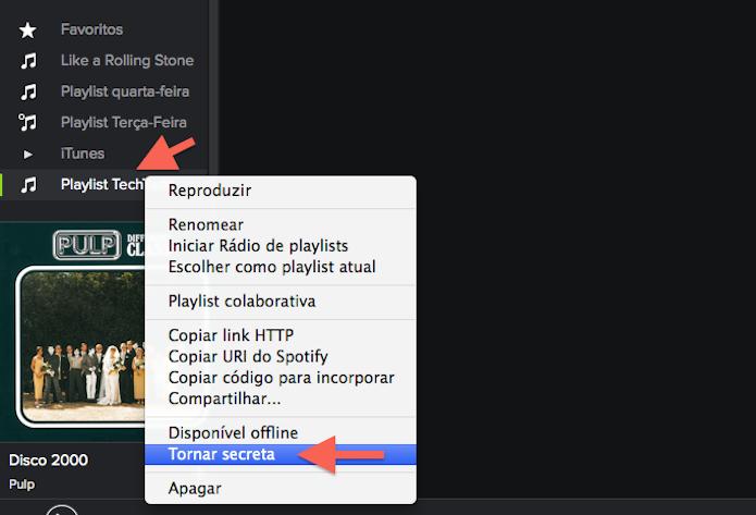 Tornando uma playlist secreta no Spotify (Foto: Reprodução/Marvin Costa)