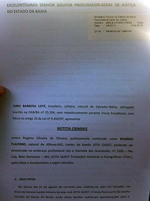 Documento protocolado pelo advogado baiano (Foto: Juno Barbosa Leite / Arquivo Pessoal)