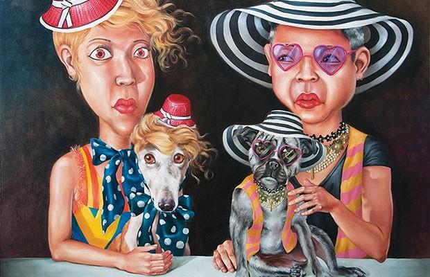 """Á direita está um homossexual que compete em vaidade com a mulher ocidental, a obra de Anon Lulitananda é intitulada """"Quem está seguindo quem?"""". (Foto: Anon Lulitananda/ Divulgação Number 1 Gallery)"""
