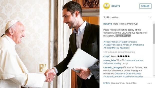 Encontro entre o papa Francisco e Kevin Systrom, CEO do Instagram, aconteceu no Vaticano. (Foto: Reprodução / Instagram / newsva)