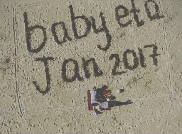 Casal usou drone para anunciar que a família estava aumentando (Foto: Reprodução/ Youtube)