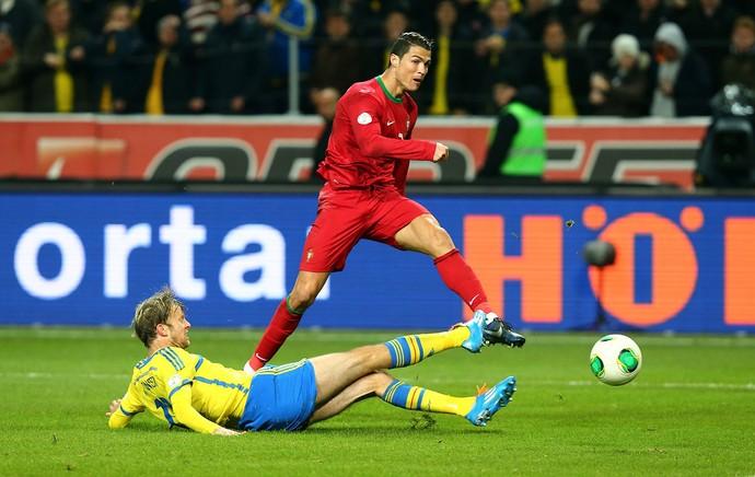 Cristiano Ronaldo marca, Suecia x Portugal (Foto: Getty Images)