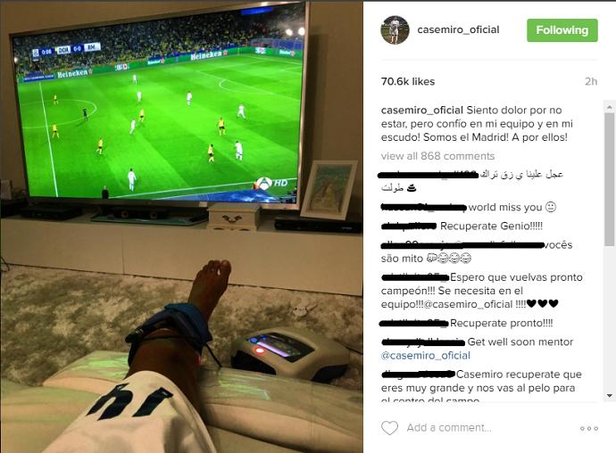 """BLOG: Desfalque, Casemiro posta mensagem de apoio ao Real: """"Sinto dor por não estar"""""""