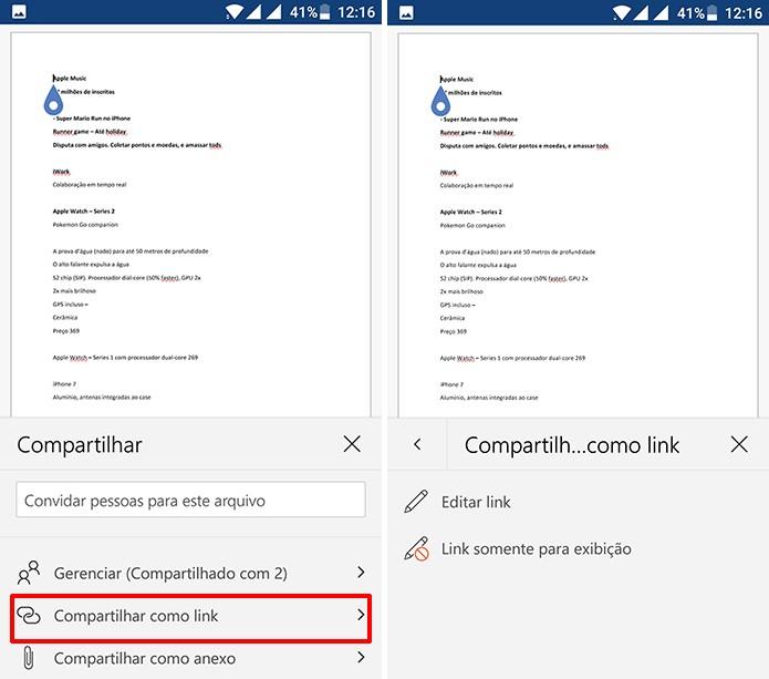 Usuário também pode compartilhar documentos para colaboração através de link (Foto: Reprodução/Elson de Souza)
