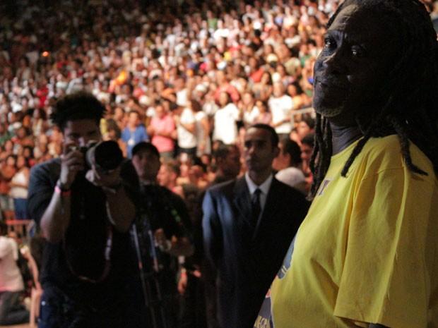 Vovô do Ilê, na gravação do DVD do Ilê Aiyê, em Salvador (Foto: Ida Sandes/G1 Bahia)