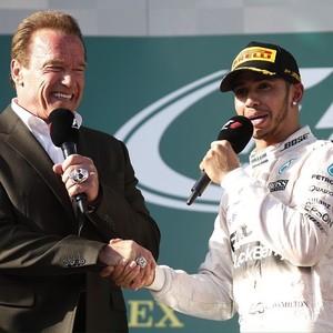 Arnold Schwarzenegger Lewis Hamilton Gp da Austrália Fórmula 1 (Foto: FIA / Divulgação Instagram)