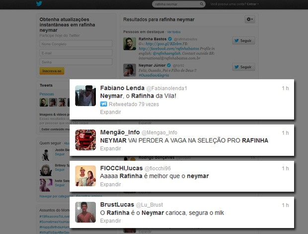 Twitter Neymar e Rafinha Bastos (Foto: Reprodução / Twitter)