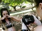 Gisele Frade mostra bastidor de fotos e exibe barrigão