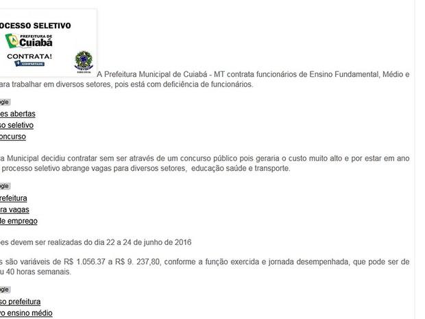 Site tem conteúdo falso, diz prefeitura de Cuiabá (Foto: Reprodução/Facebook)