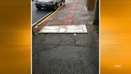 Morador flagra buraco tampado com porta em Florianópolis