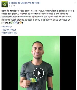 Sócio-torcedor do Picos (Foto: Reprodução/Facebook)