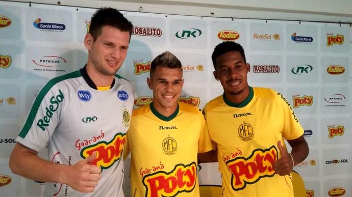 Goleiro Vagner, atacante Welinton Júnior e volante Willian, reforços, Mirassol (Foto: Vinícius de Paula / Ag. Mirassol)
