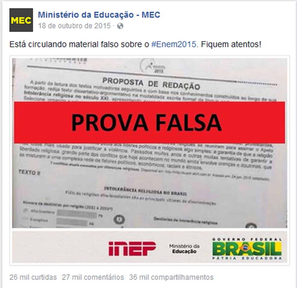 Post no Facebook do MEC de 18 de outubro de 2015 dizendo que a prova vazada era falsa (Foto: Reprodução)