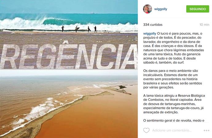 Wigooly Dantas desabafa com chegada da lama ao litoral do Espírito Santo (Foto: Reprodução)