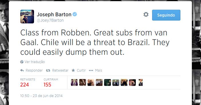 Joey Barton diz que Chile pode eliminar o Brasil facilmente