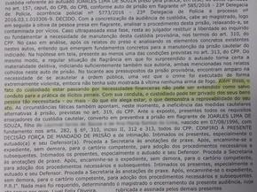 Trecho da decisão de juiz que determinou que homem que alegou que roubou para alimentar filho permanecesse preso em Brasília (Foto: Tribunal de Justiça do Distrito Federal/Divulgação)