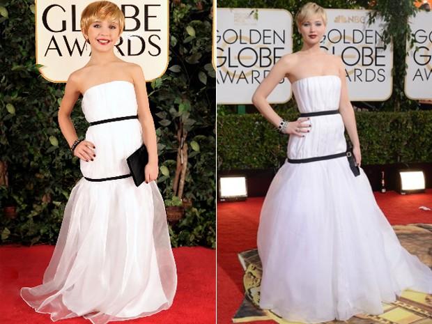 A 'versão mirim' de Jennifer Lawrence, feita para o projeto Toddlewood, e a atriz no tapete vermelho do Globo de Ouro 2014 (Foto: Tricia Messeroux / Toddlewood.com e  Jordan Strauss/Invision/AP)
