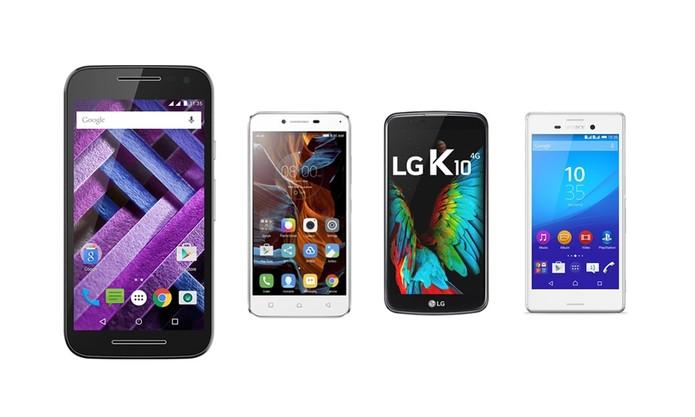 Moto G contra outros intermediários: Vibe K5, LG K10 e Xperia M4 Aqua (Foto: Arte/TechTudo)