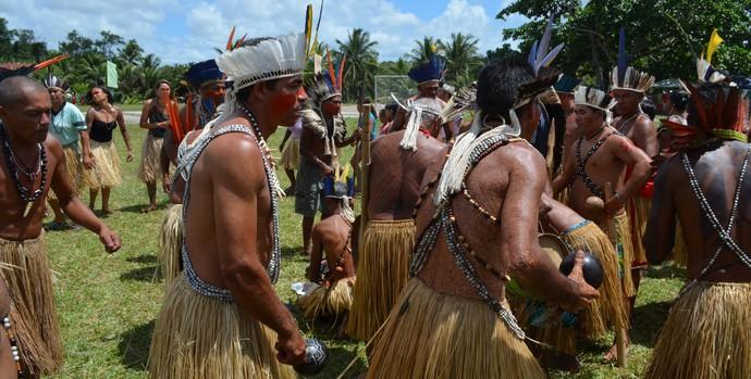 Ritual do Toré, realizado durante os Jogos Indígenas da Paraíba (Foto: Larissa Keren / GloboEsporte.com/pb)