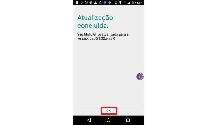 Mensagem de atualização do Android L concluída com êxito (Foto: Reprodução/ Raquel Freire)