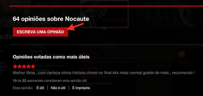 Acessando a página para escrever uma opinião sobre um filme ou série do Netflix (Foto: Reprodução/Marvin Costa)