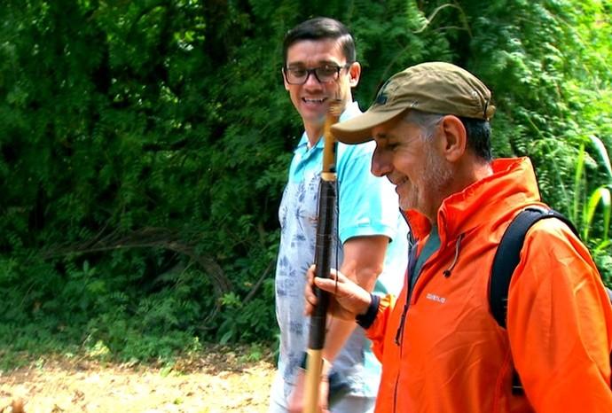 O peregrino José Palma acompanhou o Marcão no trajeto (Foto: Reprodução / TV TEM)