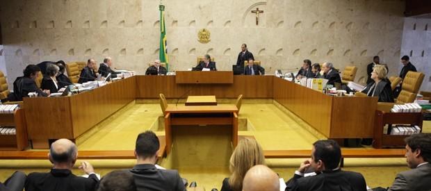 Plenário do Supremo Tribunal Federal, com os 11 ministros; participação de Toffoli e Peluso ainda é dúvida (Foto: Carlos Humberto/SCO/STF)