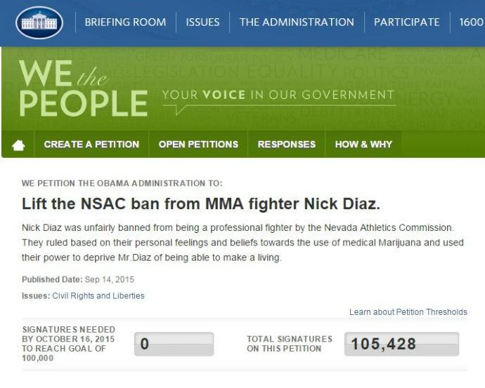 BLOG: Petição de Nick Diaz alcança meta para ser avaliada na Casa Branca