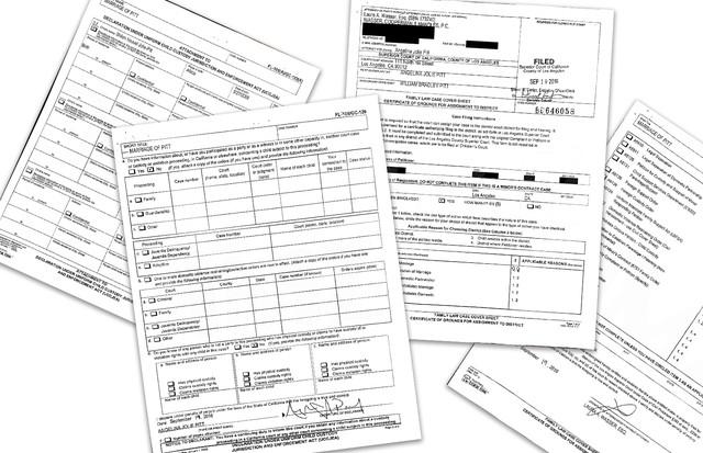 Documentos do divórcio de Brad e Angelina (Foto: Reprodução)