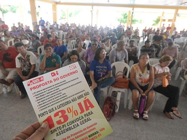 Trabalhadores da educação do Piauí cobram reajuste de 13% (Foto: Sinte-PI/Divulgação)