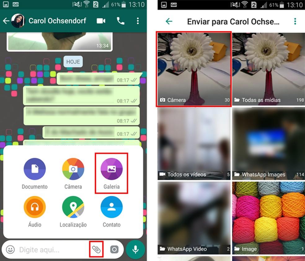 Selecione a pasta com as fotos no WhatsApp (Foto: Reprodução/Aline Batista)