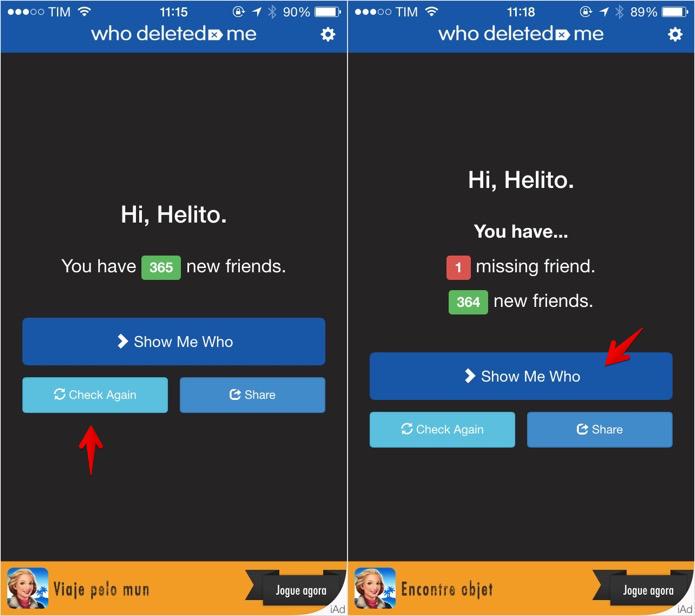 Verificando quem o deletou do Facebook (Foto: Reprodução/Helito Bijora)