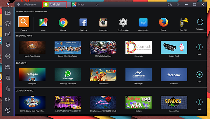 BlueStacks mantem aba Android como tela inicial do emulador de apps no Windows (Foto: Reprodução/Elson de Souza)
