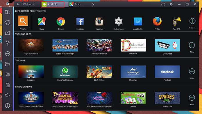 BlueStacks mantem aba Android como tela inicial do emulador de apps no Windows (Foto: Reprodução/Elson de Souza)