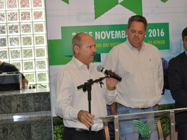 Presidente da OCB/MS, Celso Ramos Regis, durante o lançamento do MS Agro (Foto: Anderson Viegas/G1 MS)