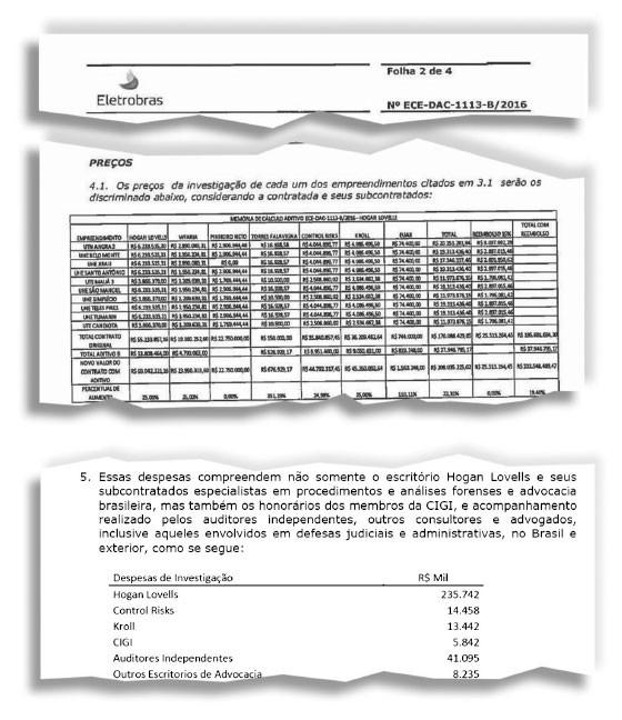 MAIS DINHEIRO  Trechos de contratos da Eletrobras com o escritório Hogan Lovells. A empresa pagou mais do que havia divulgado a seus acionistas (Foto: Reprodução)