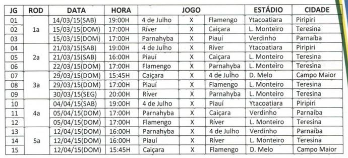 Tabela - Primeiro Turno do Campeonato Piauiense (Foto: Reprodução/FFP)