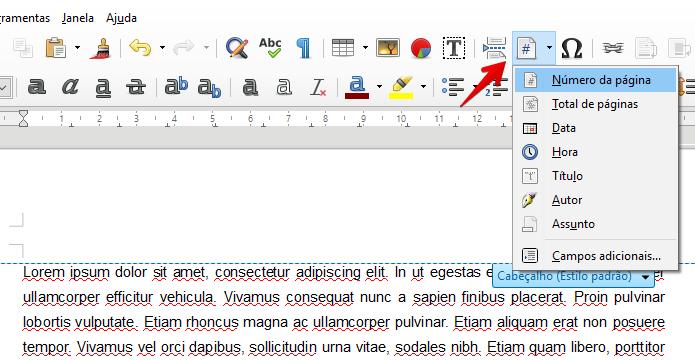 Adicionando o número de páginas ao documento (Foto: Reprodução/Helito Bijora)