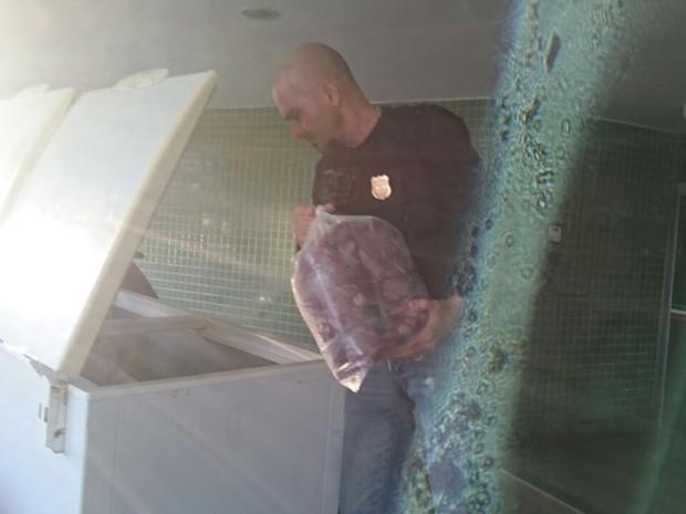 Policial civil coloca carne clandestina apreendida em freezer da corporação (Foto: Polícia Civil/Divulgação)