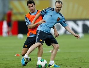 Fabregas e Iniesta  treino Espanha (Foto: Reuters)