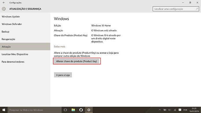 Usuário deve escolher a opção de alterar chave do Windows 10 Home para fazer upgrade (Foto: Reprodução/Elson de Souza)