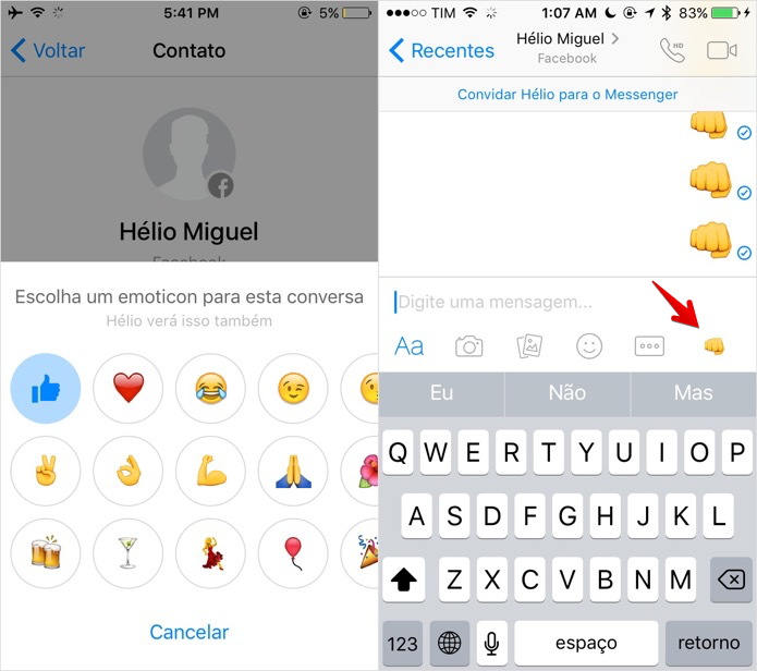 Alterando emoji de resposta rápida (Foto: Reprodução/Helito Bijora)