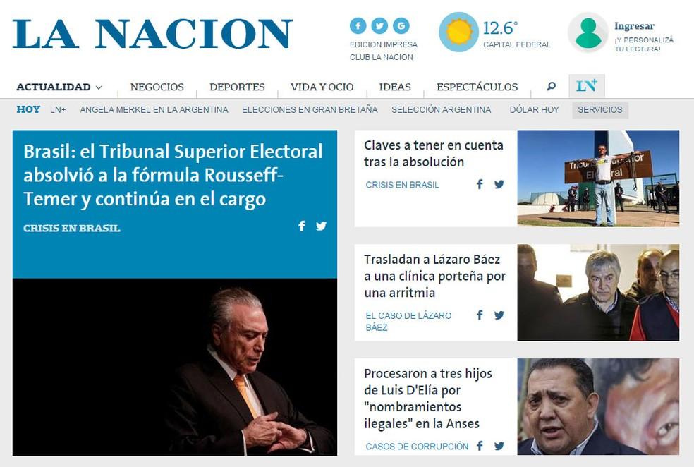 'La Nación' noticia decisão desta sexta pelo TSE na manchete de seu site (Foto: Reprodução/ La Nacion)