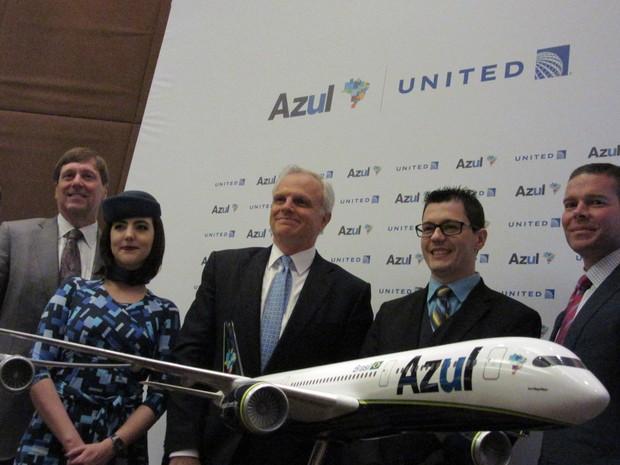 United Airlines e Azul anunciaram nesta sexta-feira (27) parceria que prevê aporte de US$ 100 milhões da companhia norte-americana na brasileira (Foto: Darlan Alvarenga/G1)