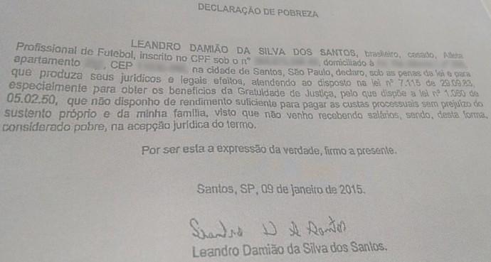 Declaração de pobreza do Leandro Damião (Foto: Reprodução)